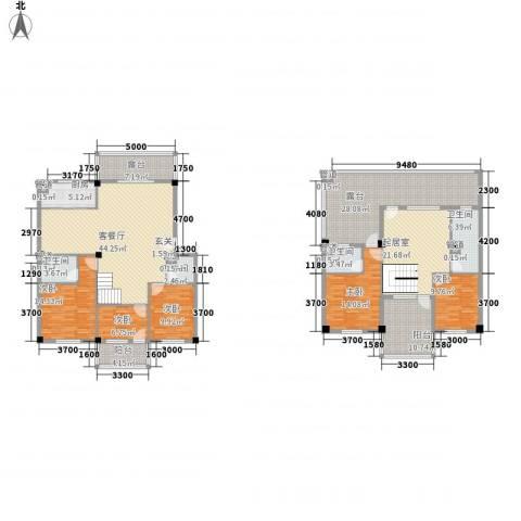 三秀新城5室1厅4卫1厨192.90㎡户型图