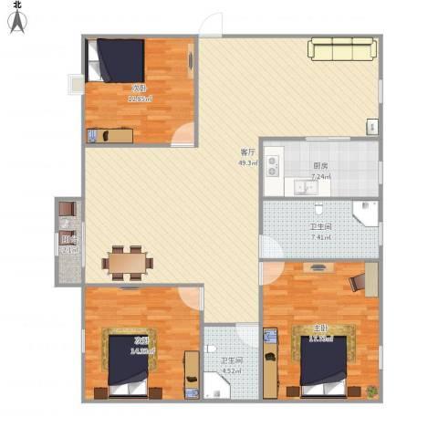 新华苑3室1厅2卫1厨154.00㎡户型图
