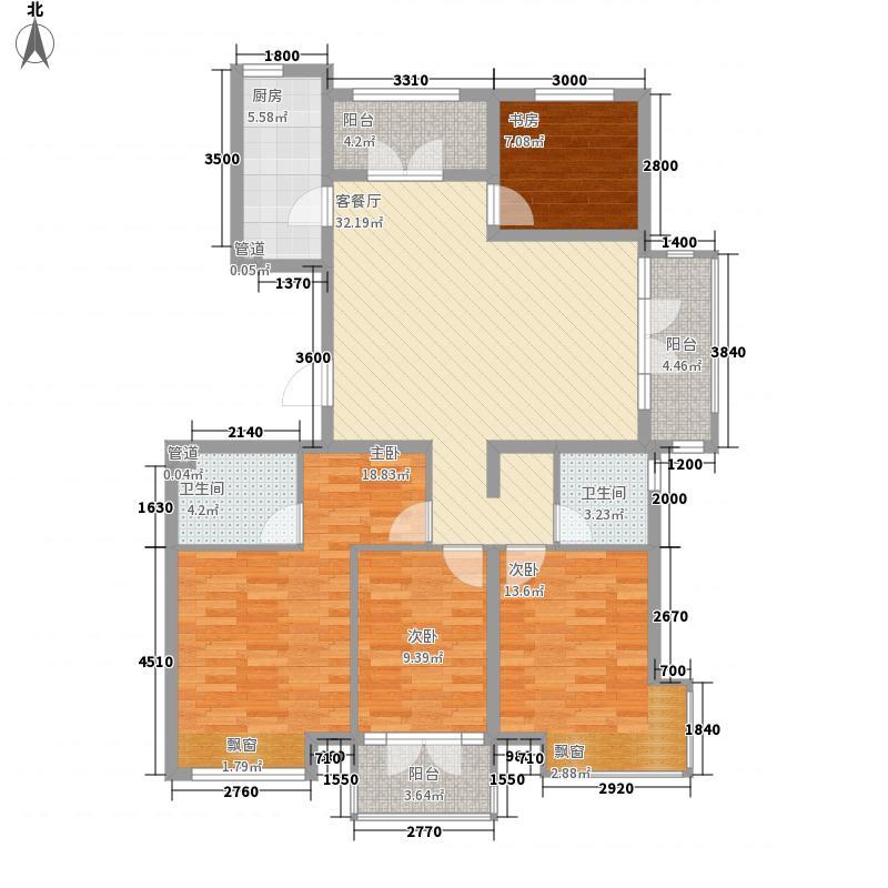 上水庄园138.00㎡B-2-6F户型4室2厅2卫1厨