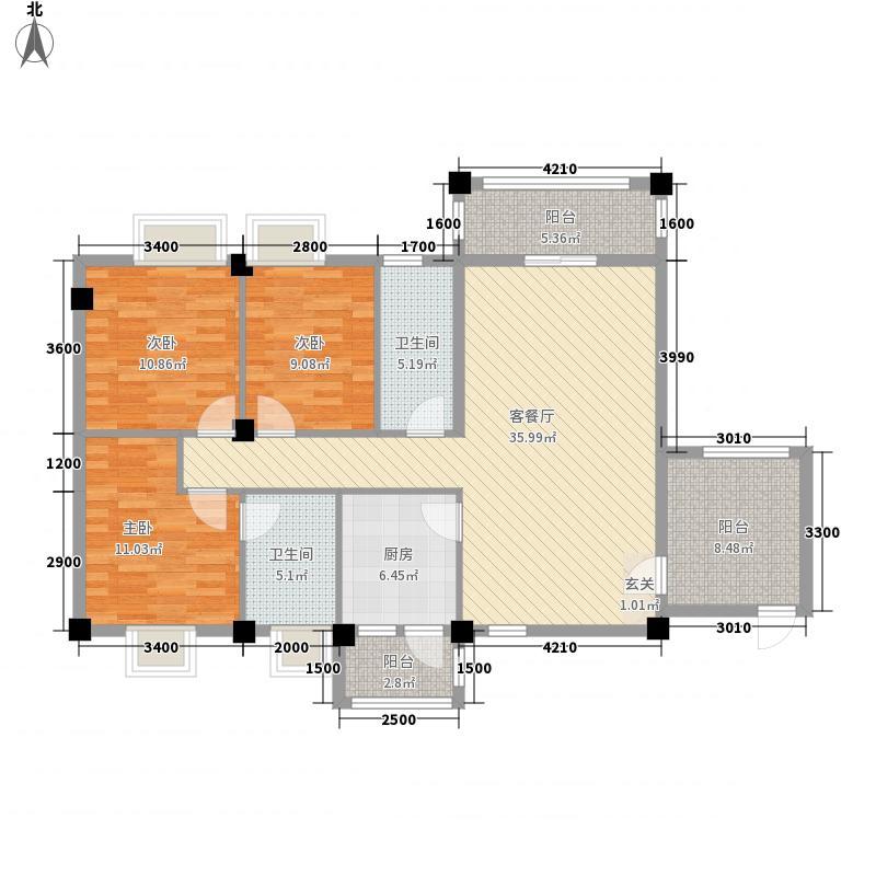 南湖商业广场三期2125.20㎡2#A户型3室2厅2卫1厨