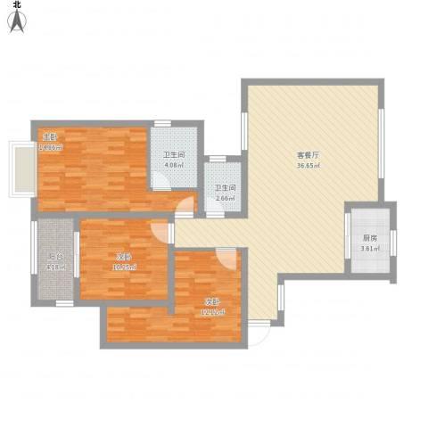 万星嘉和时代3室1厅2卫1厨127.00㎡户型图
