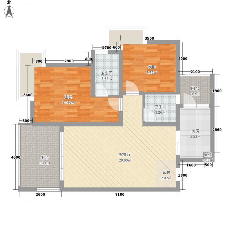龙湖郦江7.00㎡户型2室