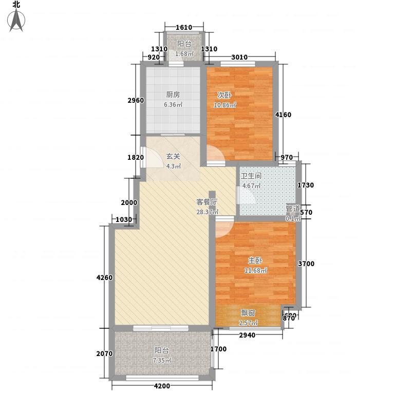 海峡・湖尚城2层h-5户型2室1厅1卫1厨