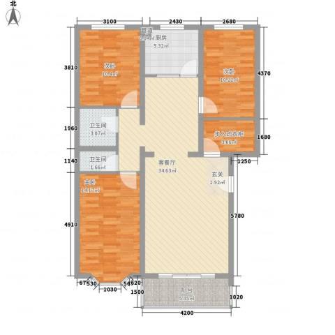 世源佳境3室1厅2卫1厨126.00㎡户型图