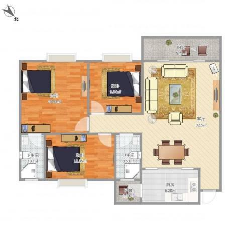 绿景苑3室1厅2卫1厨119.00㎡户型图
