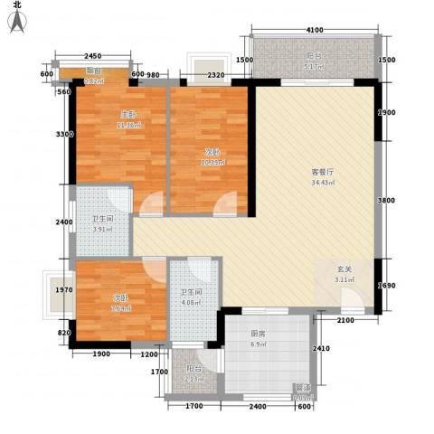海志公园道一号3室1厅2卫1厨86.10㎡户型图