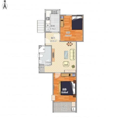 宁工二村2室1厅1卫1厨76.00㎡户型图