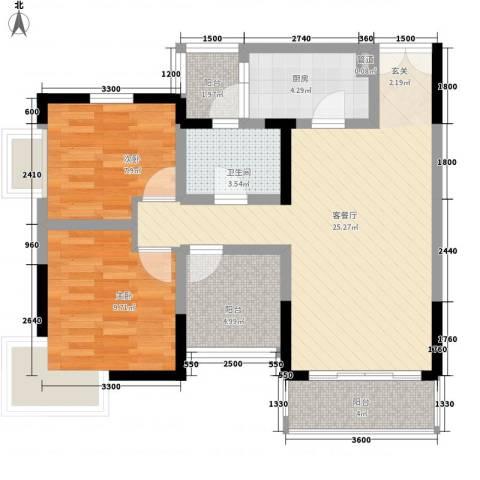 建工锦绣华城2室1厅1卫1厨86.00㎡户型图