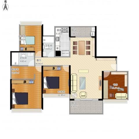 招商金山谷1室1厅2卫1厨156.00㎡户型图