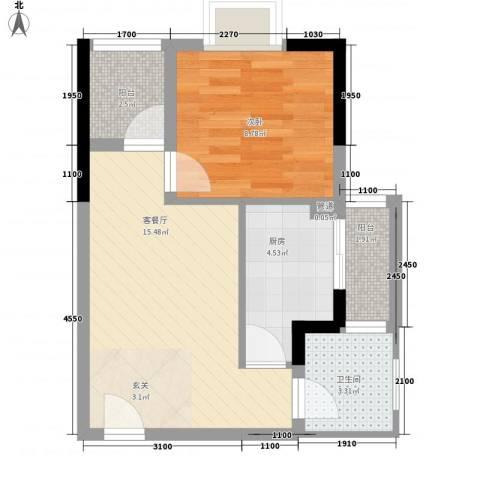 海志公园道一号1室1厅1卫1厨47.00㎡户型图