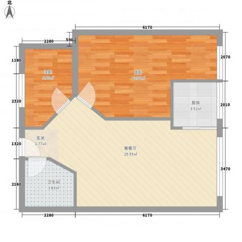 汉江阳光城2室1厅1卫1厨78.00㎡户型图