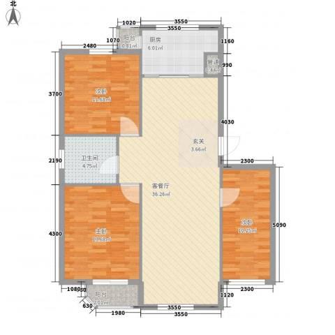 金都嘉园3室1厅1卫1厨95.00㎡户型图
