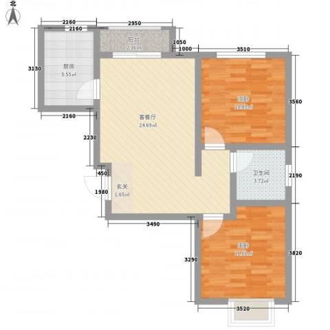 石龙旧城区住宅2室1厅1卫1厨103.00㎡户型图