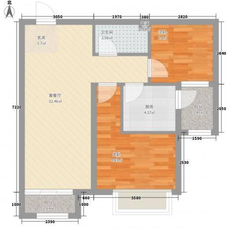 仁泰里2室1厅1卫1厨49.74㎡户型图