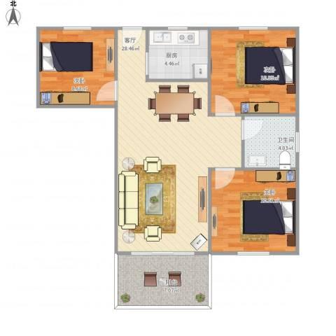 侨建花园3室1厅1卫1厨95.00㎡户型图