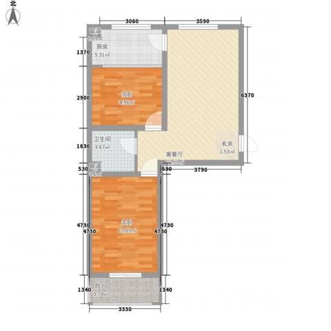福园2室1厅1卫1厨81.00㎡户型图
