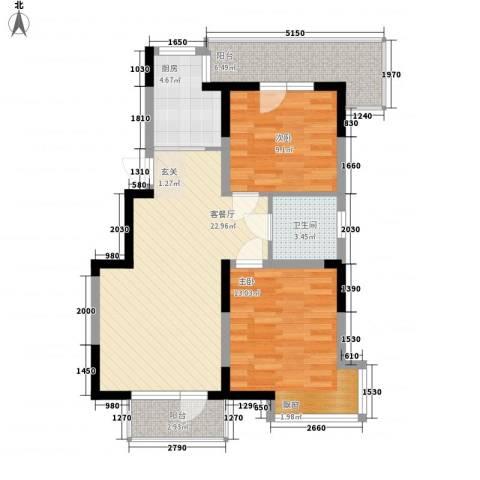 U-WORLD优品天地2室1厅1卫1厨90.00㎡户型图
