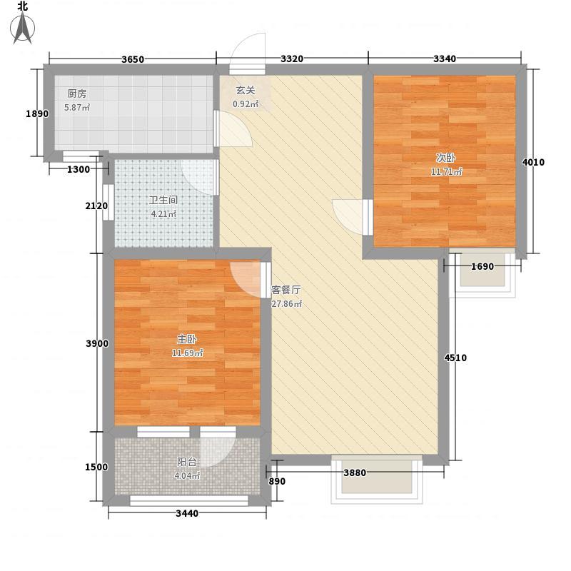 荣宝御园4.00㎡3号楼标准层E户型2室2厅1卫1厨