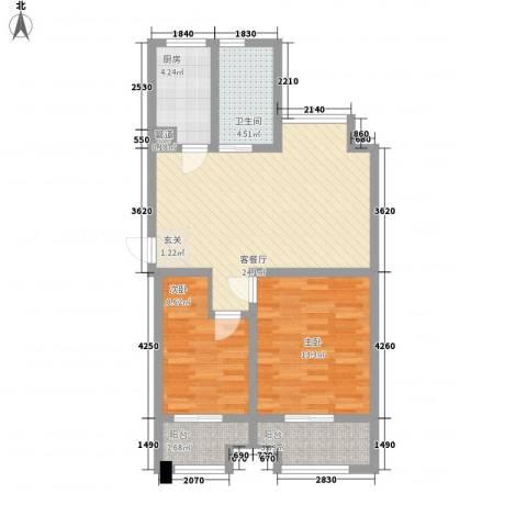 九洲新家园2室1厅1卫1厨89.00㎡户型图