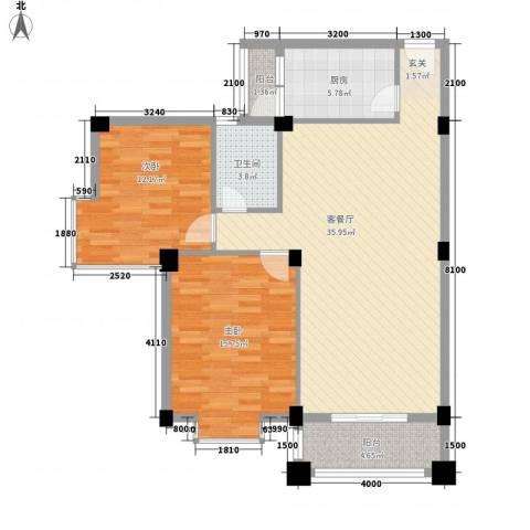 碧湖花园(龙岗)2室1厅1卫1厨111.00㎡户型图
