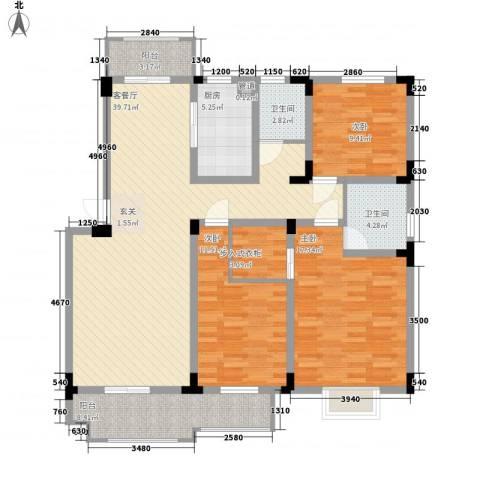 海纳国际3室1厅2卫1厨127.00㎡户型图