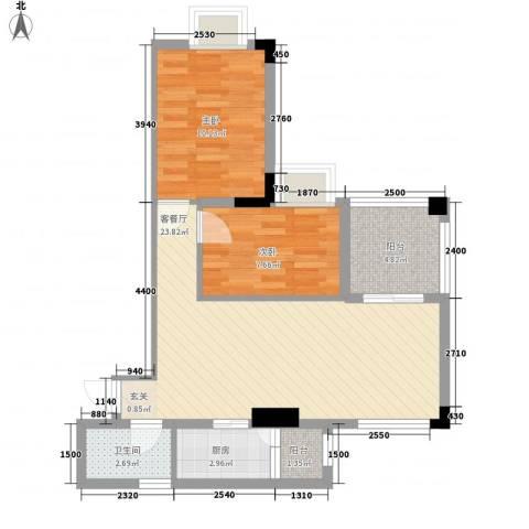 丽园雅庭2室1厅1卫1厨77.00㎡户型图