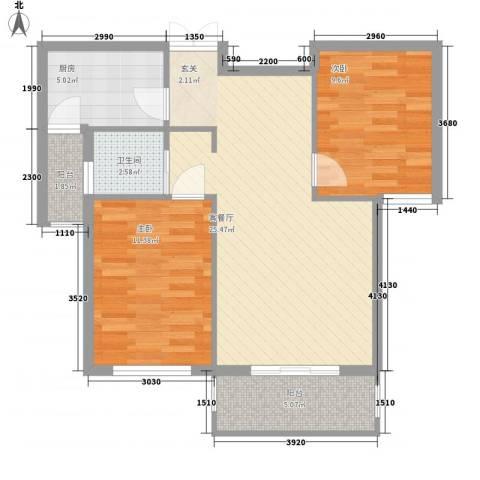 北京公园2室1厅1卫1厨77.00㎡户型图