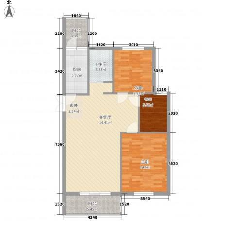北京公园3室1厅1卫1厨101.00㎡户型图
