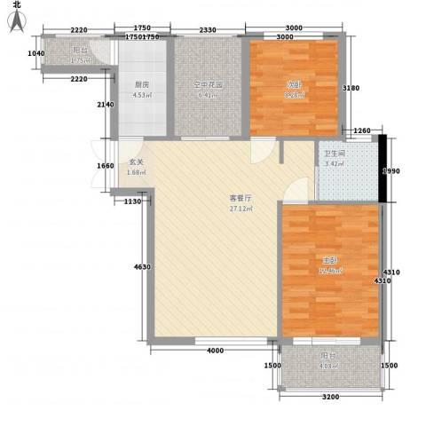 北京公园2室1厅1卫1厨88.00㎡户型图