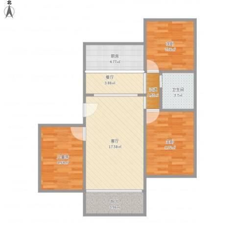 康乐园3室2厅1卫1厨86.00㎡户型图