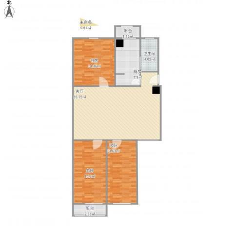 华龙苑南里3室1厅1卫1厨129.00㎡户型图