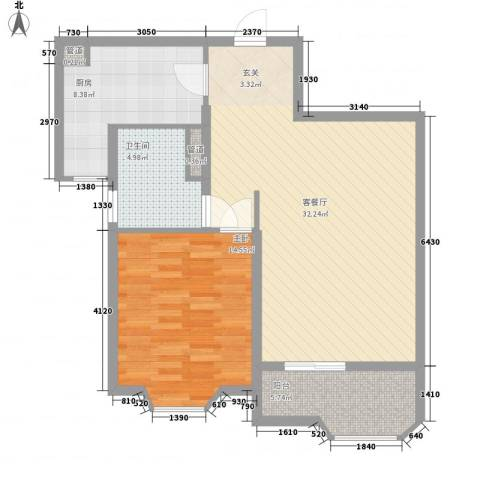 瑞南新苑1室1厅1卫1厨84.00㎡户型图