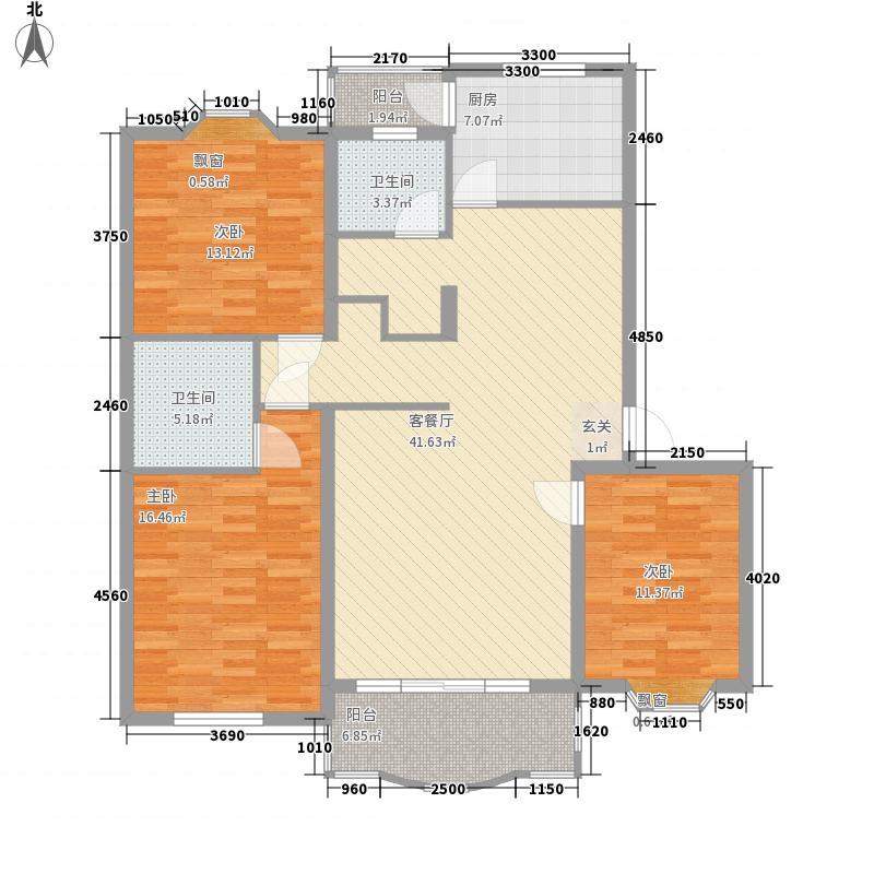 阳光绿园户型图3室2厅1卫1厨