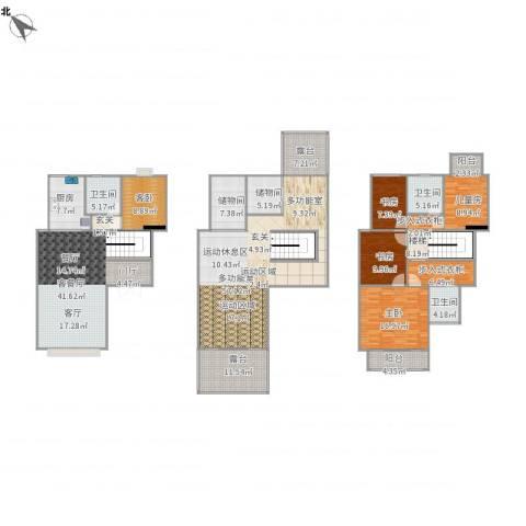 国信慧谷山居5室1厅3卫1厨307.00㎡户型图