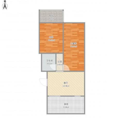 运河鑫城2室1厅1卫1厨78.00㎡户型图