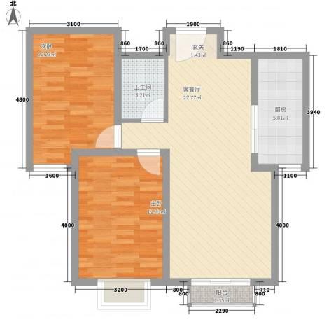 金澜湾2室1厅1卫1厨63.09㎡户型图