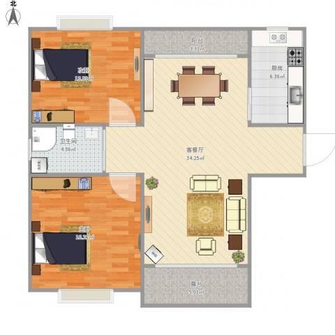 新顾村大家园A区2室1厅1卫1厨111.00㎡户型图