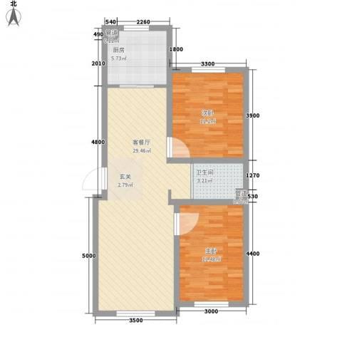 汉森华尔兹2室1厅1卫1厨87.00㎡户型图