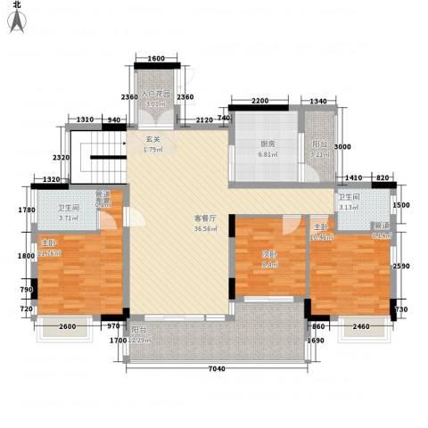 越秀逸泉韵翠3室1厅2卫1厨144.00㎡户型图