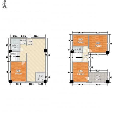 恒东幸福里4室1厅2卫1厨125.30㎡户型图