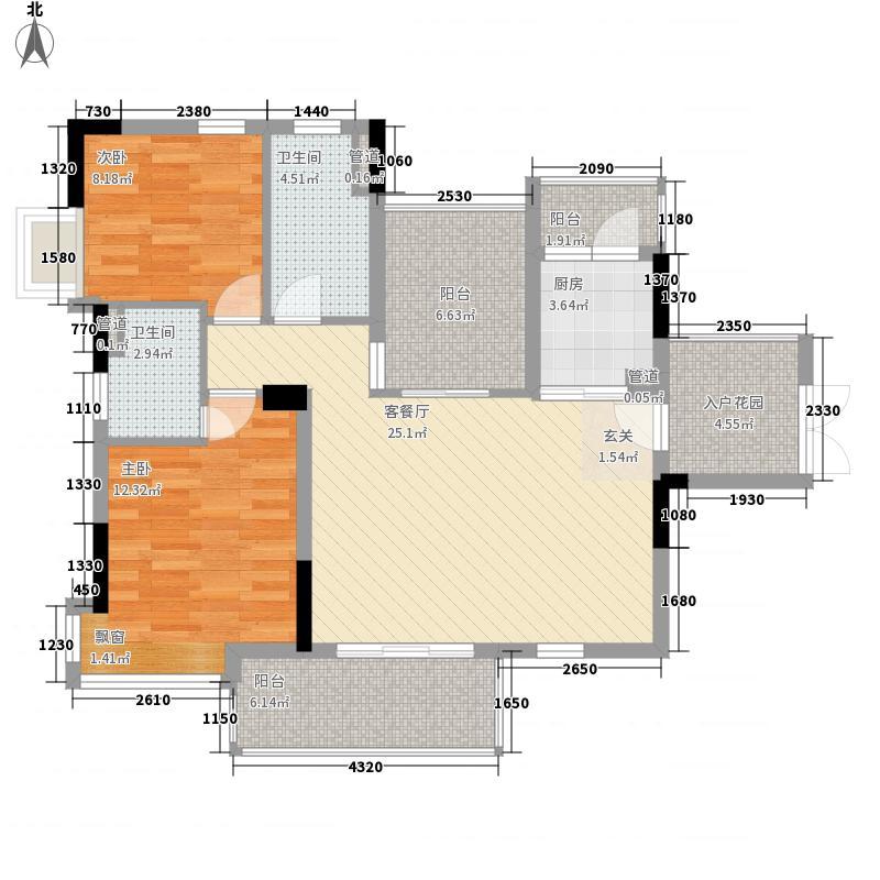越秀逸泉韵翠户型图4栋二至8层02户型 3室2厅2卫1厨