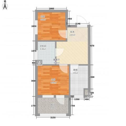 七星九龙湾2室1厅1卫1厨54.00㎡户型图