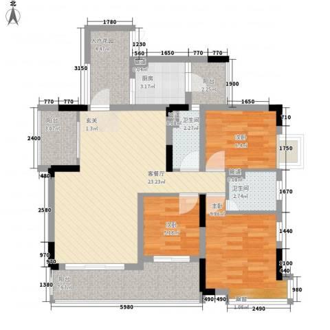 越秀逸泉韵翠3室1厅2卫1厨105.00㎡户型图