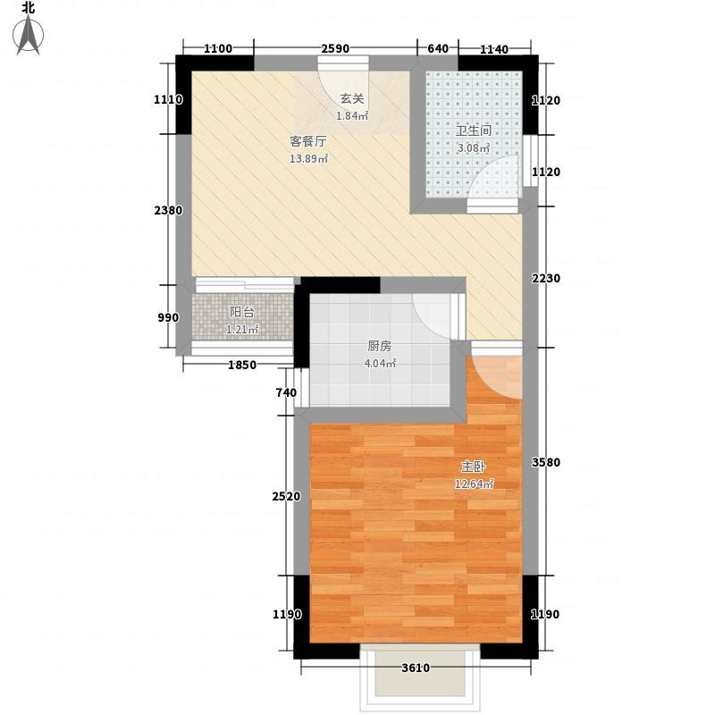 明珠家园52.10㎡1号楼E户型1室1厅1卫1厨