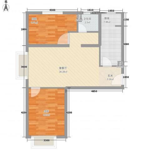 首创・伊林郡2室1厅1卫1厨83.00㎡户型图