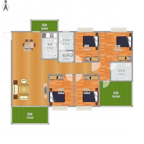 石竹山水园四期4室1厅2卫1厨164.00㎡户型图