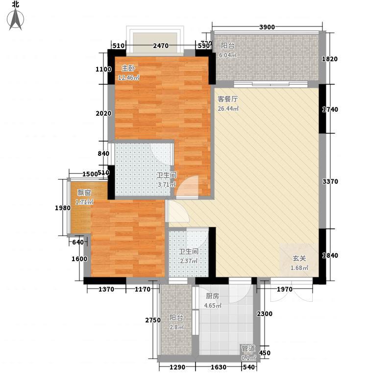 汇景豪庭82.30㎡户型2室2厅