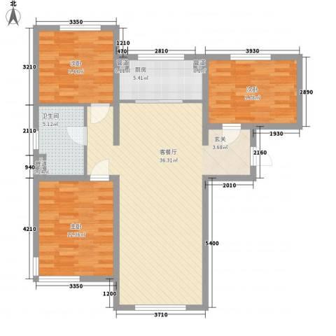 万科仕林苑3室1厅1卫1厨112.00㎡户型图