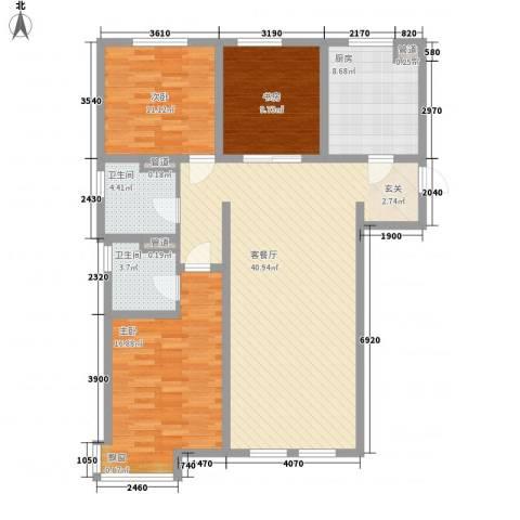 万科仕林苑3室1厅2卫1厨136.00㎡户型图
