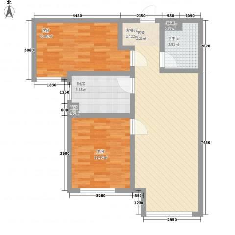 万科仕林苑2室1厅1卫1厨88.00㎡户型图